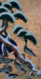 尾形光琳、雪松群禽図屏風