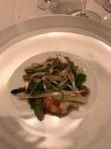北海道産毛蟹と雲丹、茄子とタプナードのムース ホワイトバルサミコのゼリー