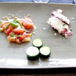 2p三種盛り前菜(ナスとトマトのマリネ、タコの生クリームあえ、キュウリのマリネ古代ローマ風1-2