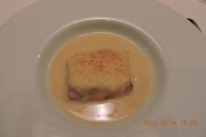 鱈のオレンジ風味、ホワイトアスパラガスのサヴァイヨンとロワイヤル